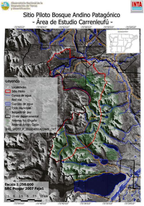 INTA Carrenleufu - Mapa de ubicación del sitio piloto y su entorno